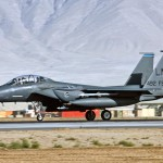 An F-15E Strike Eagle assigned to the 492nd Expeditionary Fighter Squadron takes off from Bagram Air Base, Afghanistan. The 492nd EFS is deployed from Royal Air Force Lakenheath, England. F-15Es fly close-air-support missions for Operation Enduring Freedom and contributed to 37 coalition sorties over Afghanistan Aug. 1. (Air Force photo/Staff Sgt. Craig Seals)